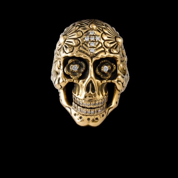 Anello teschio oro e brillanti realizzato a mano