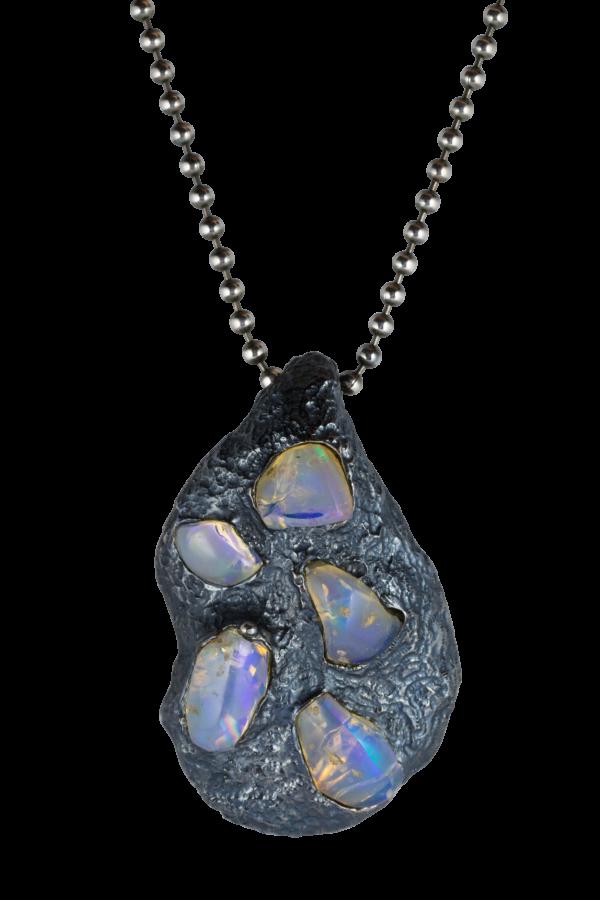 Ciondolo argento con opali